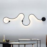 Yaratıcı Akrilik Eğrisi Işık Yılan LED Lamba Nordic Led Kuşak Aplik Dekor Aydınlatma Armatür WA111