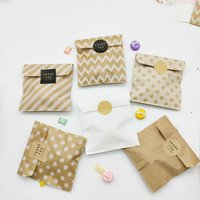 Bonbons Biscuit Kraft Sac papier Popcorn Sacs Brown Vague blanche Dot Emballage baluchon outil Emballage Party Supplies mariage