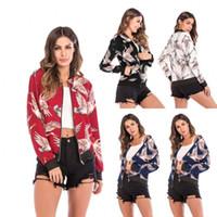2020 최신 여성 자켓 야구 재킷 인쇄 코트 패션 여자 레트로 지퍼 위로 폭격기 재킷 캐주얼 코트 착실히 보내다 가을 폭격기 재킷
