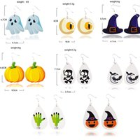 Horror skull leather earrings bat skin pumpkin earrings leat...