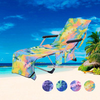 Plage Housse de chaise Hot Lounger Maté Serviette de plage unique couche Tie-dye Sunbath Lounger Bed Holiday Garden Beach Chair Cover DHL gratuit