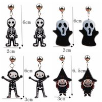 Acrylic Drop Dangle Halloween Howling Ghost Earrings For Gir...