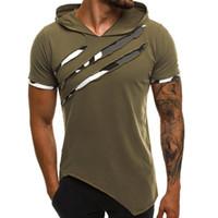 Лето Мужская с капюшоном футболка Нового вскользь Slim с коротким рукавом футболки мужчины Плюс Размер 3XL Твердый Мужчины Одежда Streetwear Tee Shirt Homme