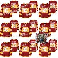 2011 Calgary Flames Isınma Formalar Miras Klasik Matthew Tkachuk Johnny Gaudreau Sean Monahan Elias Lindholm Giordano Mikael Backlund