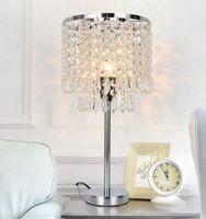 Cristallo Lampade da tavolo in argento Comodino Comodino lampada Desk Lamp Shade nastro d'oro per Soggiorno Camera da letto decorativi Sala da pranzo Cucina