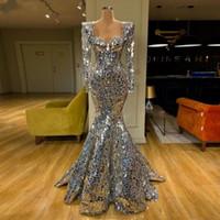 Manga brillante de lentejuelas de plata de la sirena vestidos de baile vestido de noche largo árabe Dubai largo de las mujeres elegantes del cóctel partido formal de los vestidos de gala