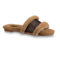2020 mujeres de invierno diapositivas de piel que bloquean sandalia plana del monograma de pelo de calidad superior cuero del diseñador del deslizador plano de la manera de las chancletas con box4-11