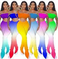 Tasarımcı Kadınlar Kısa Kıyafetler 2 İki Adet Set Yaz degrade Casual Eşofman Kadın Giyim Kısa Kollu Suits S-2XL 3537