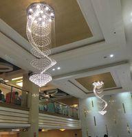 Modernos levaram escadas lustre de cristal longo cristal lâmpada do teto simples pingente circular pingente lâmpada pingente de luz criativa sala de estar
