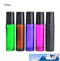 Metal Silindir Topu LX1120 ile 10 ml 1/3 oz Boş Renkli Kalın Rulo On Cam Şişe Kokular Esansiyel Yağı Parfüm Şişesi