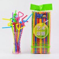 Бесплатная доставка 26см пятна оптовой одноразовой Арта соломки цвет формы изогнуты соломы сока с соломенным пластиком 100 шт трубочкой T5002