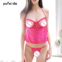 delle donne sexy YUFEIDA trasparente Camisoles del Halter del merletto bamboletta aperta Seni Nightdress degli indumenti + Open Crotch G-string