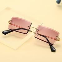 Womens Sonnenbrille Kleine Rechteck Sonnenbrille Frauen Randlose Quadratische Sonnenbrille Für Frauen 2020 Sommer Stil Weibliche UV400 Neue