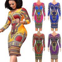 Afrika Giyim Yeni Kadın Modası Yaz Kısa Kollu Elbise Günlük Derin V-Yaka Geleneksel Afrika Parti Elbise BODYCON Dress yazdır