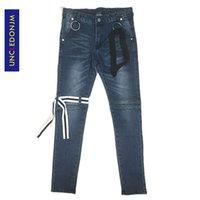 UNCLEDONJM Yüksek Kaliteli Vintage İnce Denim Sıkıntılı Jeans Biker Jeans Moda Punk Rock Pantolon Ayak bileği-Uzunluk Pantolon Yıkanmış