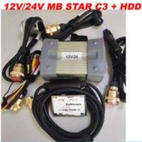 (12V / 24V) MB ستار C3 مع 5 كابلات السيارات أداة تشخيص MB C3 مع HDD نجمة ميغابايت C3 لشاحنة / سيارة محرك محلل متعدد اللغات