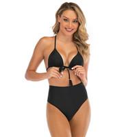 Femmes Bikini 2020 Conservateur Couvrant la Belly Bikini Self Culture Fashion Show Thin Solide Couleur Maillot de bain Corps en 37hs D2