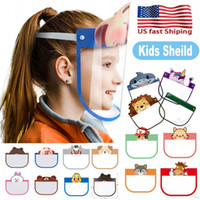 Schöne 10 PCs Kid Cartoon Face Shield Transparent Schutzmasken Staubdichtes Anti-Fog Gesichtsschutz Anti-Staub-windundurchlässiges PET-Maske FY8037
