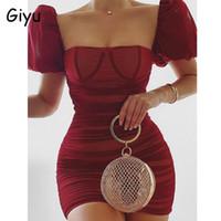 Robes décontractées Giyu Sexy Club Hey Robe Femme 2021 Summer Satin Mesh Ruché Baldoyant Mini élégante manche bouffante robe Vestidos rose