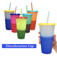 24oz MultiColor Changing Cup Magic Plastic Drinking Tumblers with Lid and Straw Reusable Candy Colors Cold Cup Summer Water Bottle