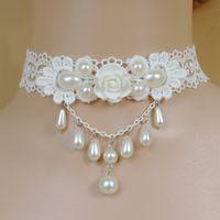 2020 Европа и Америка Новое свадебное White Lace Принцесса Gongyan Жемчужное ожерелье моды личности нашейной цепочки оптом