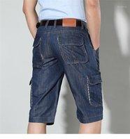 Aşırı büyük Casual Erkek Tasarımcı Şort Düz Kısa Pantolon Genişletilmiş Mavi Jeans Yaz Erkek Şort Orta Bel Diz Boyu