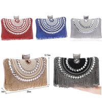 Rhinestones Tassel Clutch Diamonds Beaded Metal Evening fasdhion Bags Chain Shoulder Messenger Purse Evening Bags For Wedding Bag 2020 new
