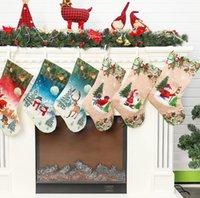 Рождественские чулки 20 дюймов Санта снеговика Xmas Висячие чулки украшение чулок рождественские чулки конфеты подарочные пакеты LJJK2442