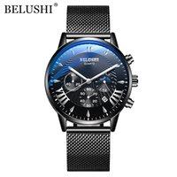 BELUSHI Top Brand Men's Sports Chronograph Quartz Watch Men's Steel Mesh Waterproof And Shockproof Date Business Watch
