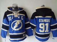 2015 Tampa gros hommes Bay Lightning 91 bleu à capuchon Maillots Stamkos Hockey Chandail Sweat customize Numéro de nom