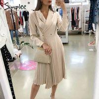 Повседневные платья простые элегантные плиссированные женские офисные платья твердые погружные дамы Blazer осень зима с длинным рукавом шикарная женщина