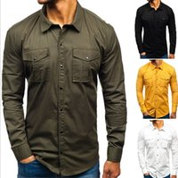 Mens 2020 Designer Luxus-Shirts Langarm-Multi Pocket Cargo-Casual Shirts Solid Color Männlich Kleidung