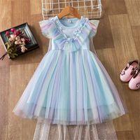 Детские платья летняя принцесса 2021 TUTU платье для девочек свадьба дети с плащными днем рождения вечеринка костюмы детская одежда 3-8Y