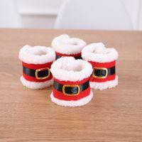 Noel Baba Kırmızı Peçete Halkaları Tutucu Elf Kumaş Doku Kutular Parti Ziyafet Sofra Noel Dekorasyon Serviette Tutucu DH0308
