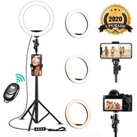Remote LED Light Ring selfie 8 pollici dimmerabili camera phone Lampada anello con basamento del treppiedi del telefono per il trucco Live Video Studio