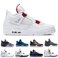 Mais recente Homens 4 4S tênis de basquete Red Metallic Hot perfurador o que a Pizzeria Homens Pure Dinheiro Preto melhores tênis ao ar livre formadores sapatos 7-13