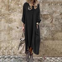 Womens vestito da autunno incappucciato Sundress 2020 caftano solido Vestito a camicia casual Midi Vestiti Femminile Button Solid Robe oversize
