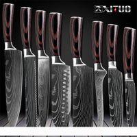 Mutfak Chef Bıçaklar Seti 8 inç Japon 7CR17 440C Yüksek Karbon Paslanmaz Çelik Şam Lazer Desen Dilimleme Santoku Aracı