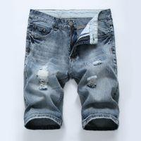Designer Herren Ripped kurze Jeans-Marken-Kleidung Bermuda Shorts aus Baumwolle atmungsaktiv Denim Shorts Männer Neue Art und Weise Größe 28-40 # B309