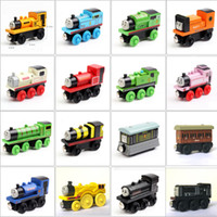 دييكاست نموذج سيارات أنماط أصلي قطارات خشبية صغيرة الكرتون لعب خشبية قطارات سيارة لعبة إعطاء طفلك هدية