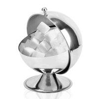 Botella de acero inoxidable de cocina esférica Sugar Bowl condimento tanque puede voltear la caja del caramelo cocina para guardar Cubo