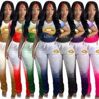 Kadınlar Dudaklar Eşofman Tasarımcı Mektupları T Gömlek Mahsul Tops ve Fırfırlı Pantolon Kıyafetler İki adet Pantolon Suit Renk Gradyan Sportwear D71610