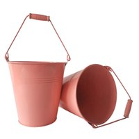 D15XH15CM 금속 화분 냄비 철 배럴 귀여운 즙 냄비 주석 버킷 꽃 작은 통 순수 핑크 가든 버킷