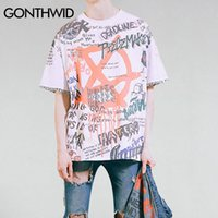 GONTHWID Граффити Anarchy Символ Футболка Punk Gothic Символ Знак Printed Tshirts Мужчина 2020 Summer Hip Hop короткий рукав Streetwear T200713