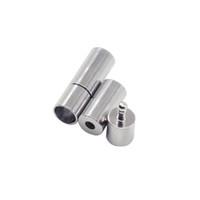DIY 보석 만들기 16x4mm 구멍 3mm에 대한 라운드 가죽 끈에 대한 100PCS / 많은 로듐 컬러 자석 걸쇠 금속 엔드 캡