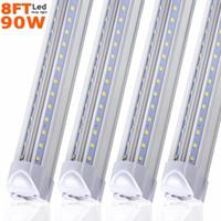 LED Dükkanı Işık, 8FT 90W 8500LM 5000K / 6000K Soğuk beyaz, V şekli, Clear Kapak, Yükseklik Çıktı, Linkable Dükkanı Işıklar, T8 LED Tüp Işıklar, 25pcs