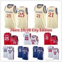 Joel 21 Embiid Ben 25 Simmons Jersey Al Horford Allen 3 Iverson Filadélfia Sixers City Cream Edition