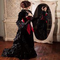 Princesa gótica roja Negro Y vestidos de boda del corsé medieval de Steampunk victoriana boda del país del amor del vestido de la reina de la chaqueta vestidos nupciales