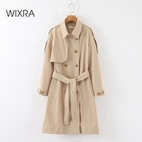 WixRA женские женские куртки с ремнями Двухбордовые основные высококачественные хаки длинные пальто шикарные женские ветровка верхняя одежда