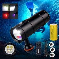 손전등 토치 스쿠버 다이빙 다이빙 100m 2350LM 방수 XM LED 화이트 / 레드 / 자외선 조명 첨가 비디오 + 32650 배터리